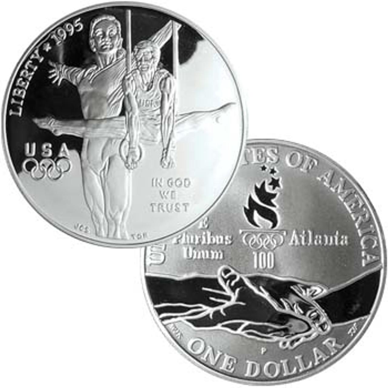 1995-P Olympic Gymnastics Silver Dollar Proof Image 1
