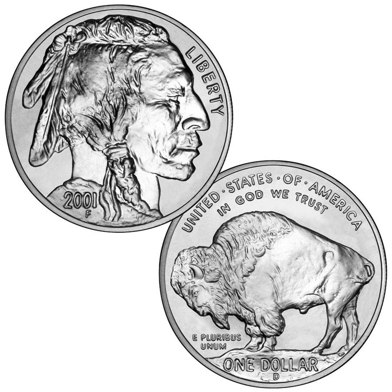 2001-D Buffalo Silver Dollar Brilliant Uncirculated Image 1
