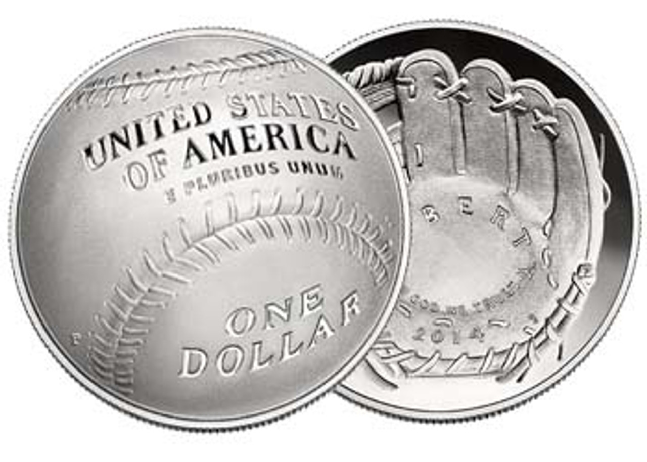 2014-P Baseball Hall of Fame Curved Silver Dollar Proof Image 1