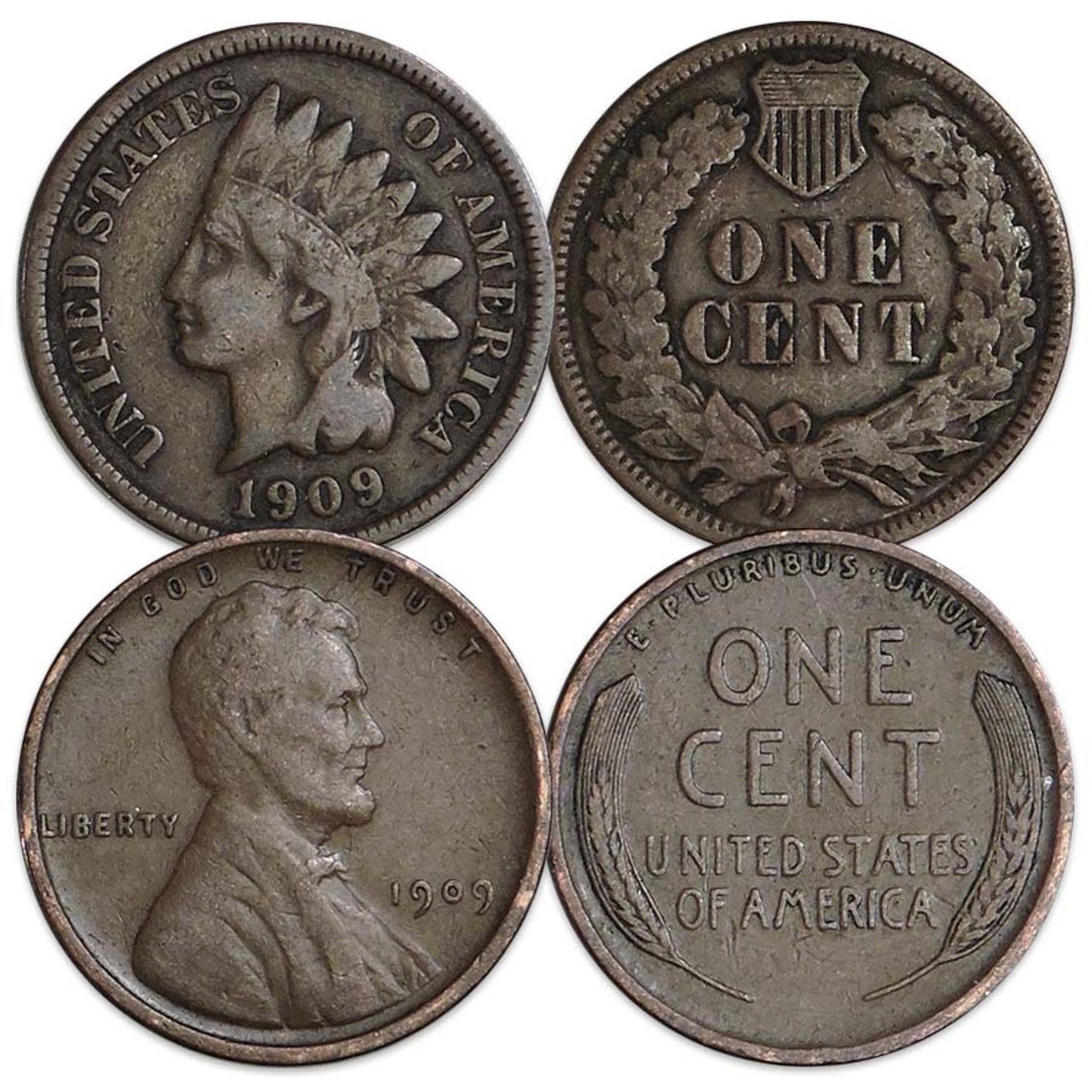 U.S. 1909 Indian and Lincoln Cent Good Pair