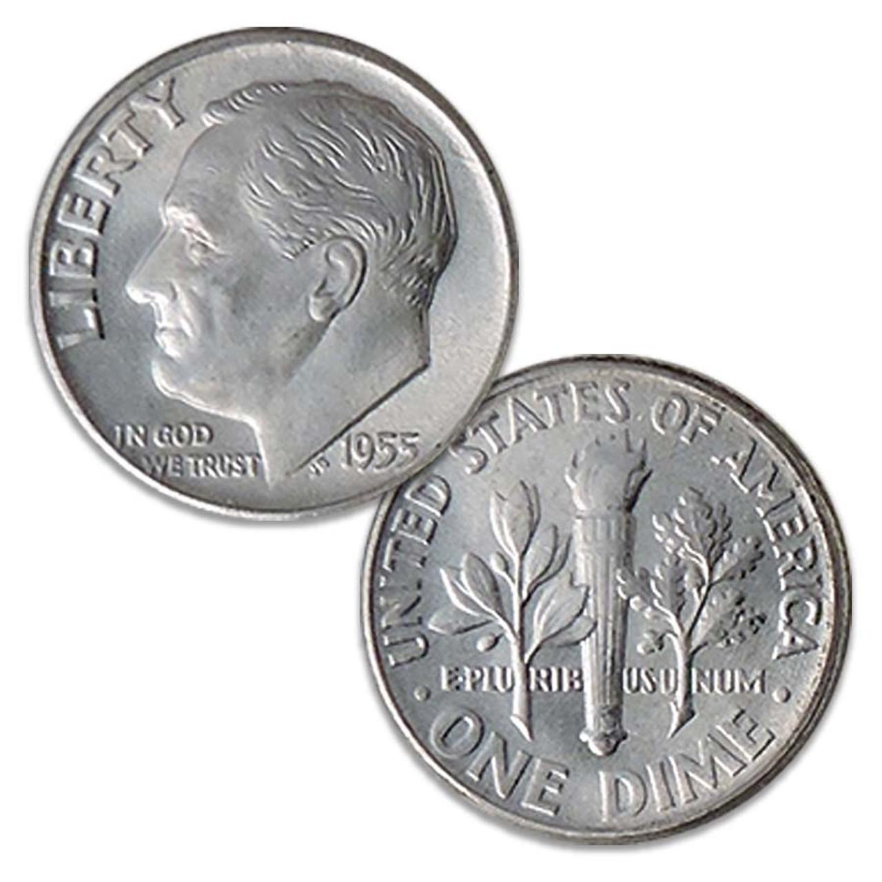 1955-D Roosevelt Silver Dime Brilliant Uncirculated Image 1