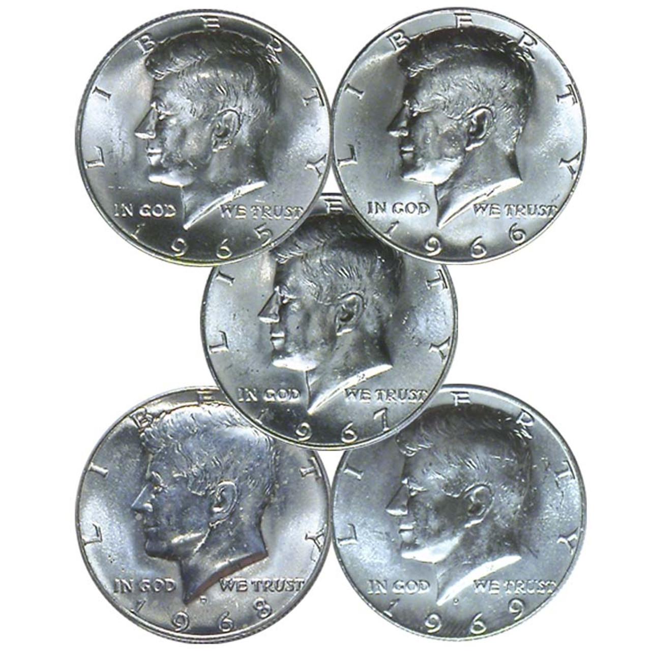 U.S. 1965-1969 Kennedy Half Dollar 5 Coin Set Brilliant Uncirculated