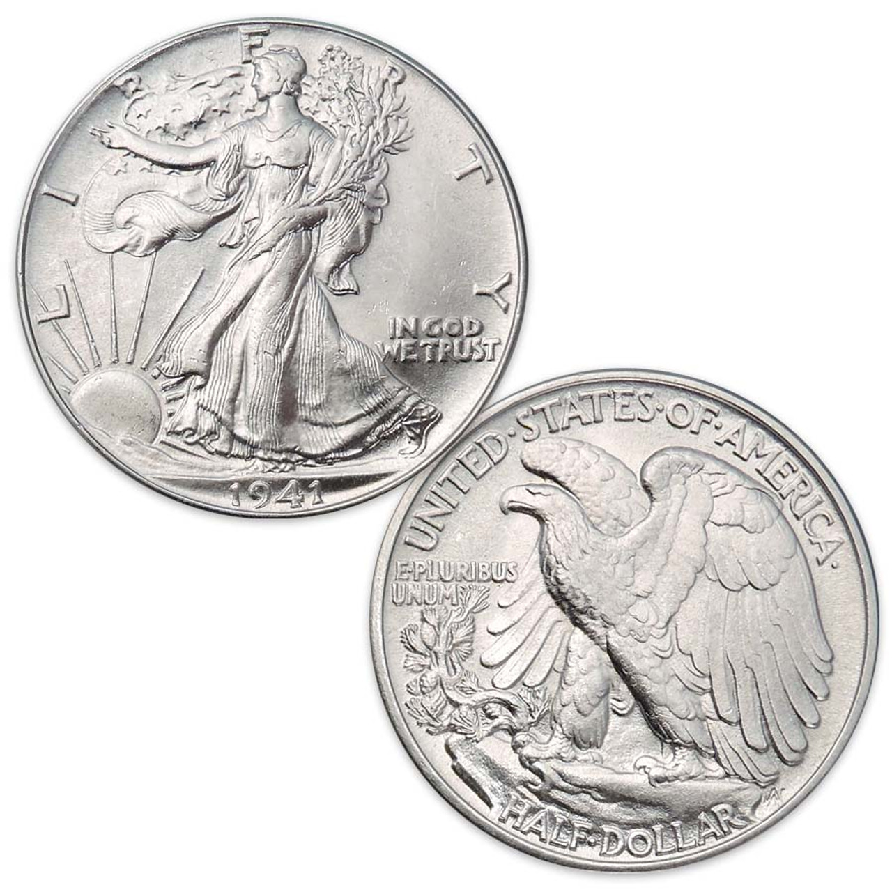 1916-1947 Walking Liberty Silver Half Dollar Brilliant Uncirculated Image 1