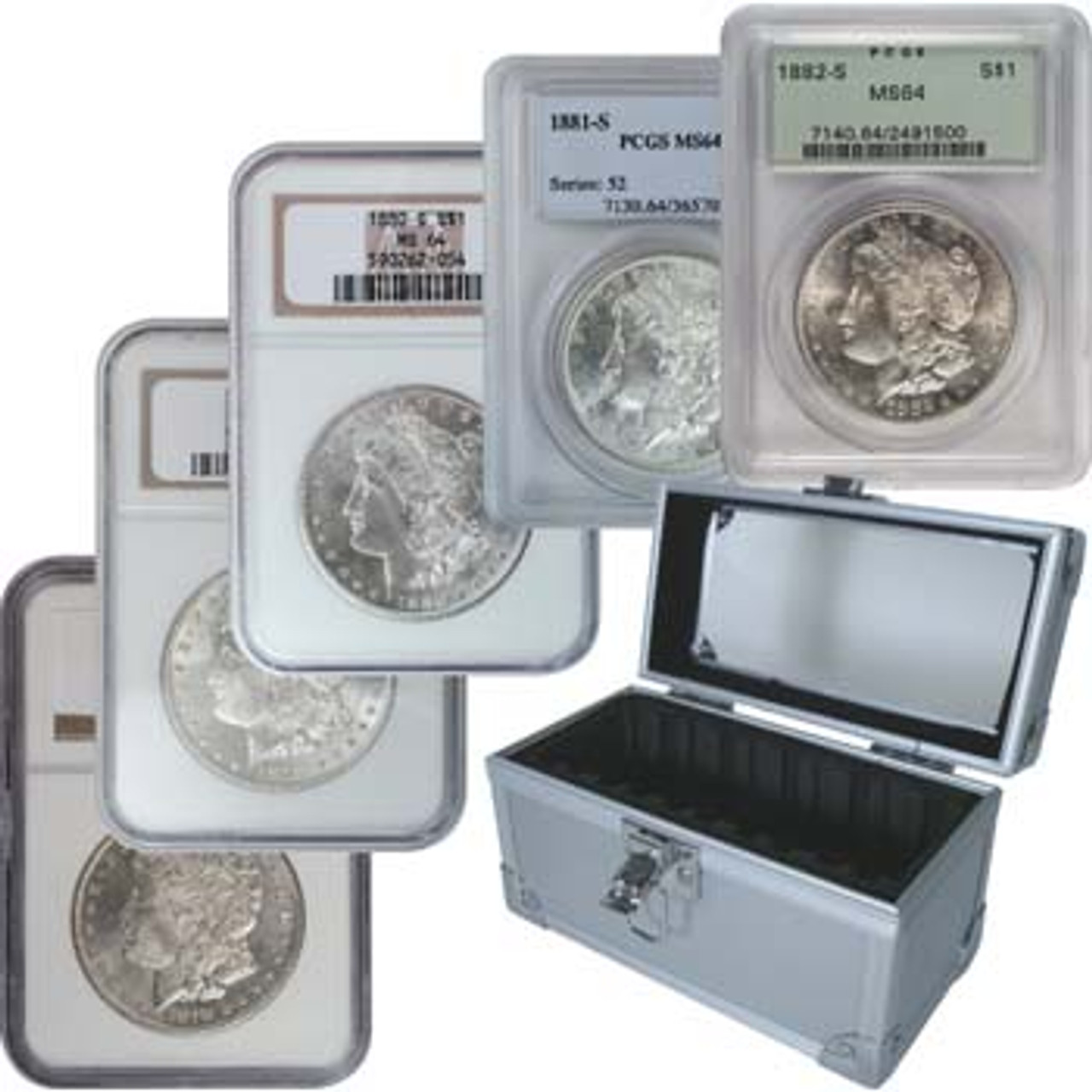 U.S. 1878-1882 Morgan Silver Dollar 5 Coin S-Mint Set Certified MS-64 with FREE Slab Holder