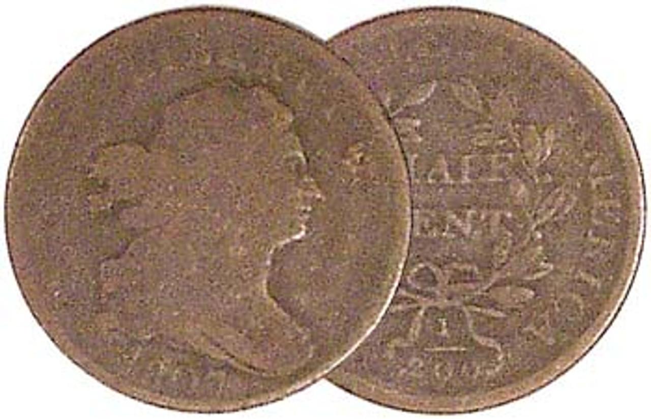 1800-1808 Draped Bust Half Cent Good Image 1