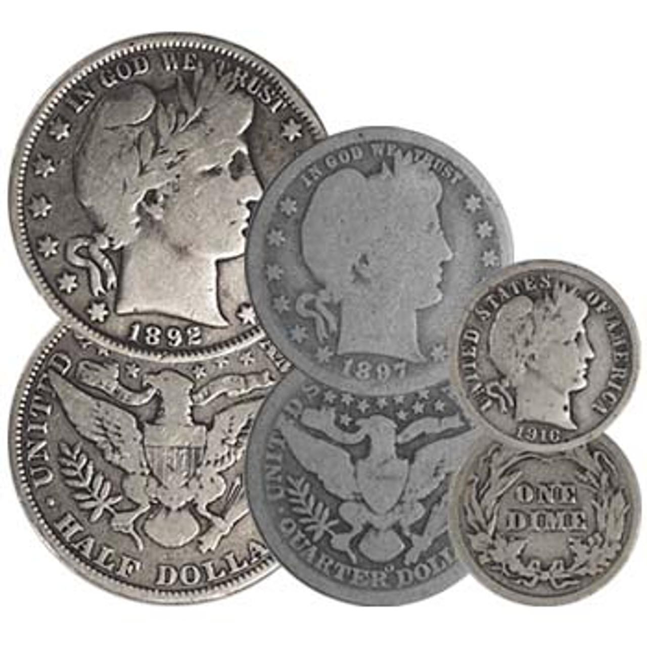 1892-1916 Liberty Head Silver Half Dollar, Quarter and Dime Trio Good Image 1