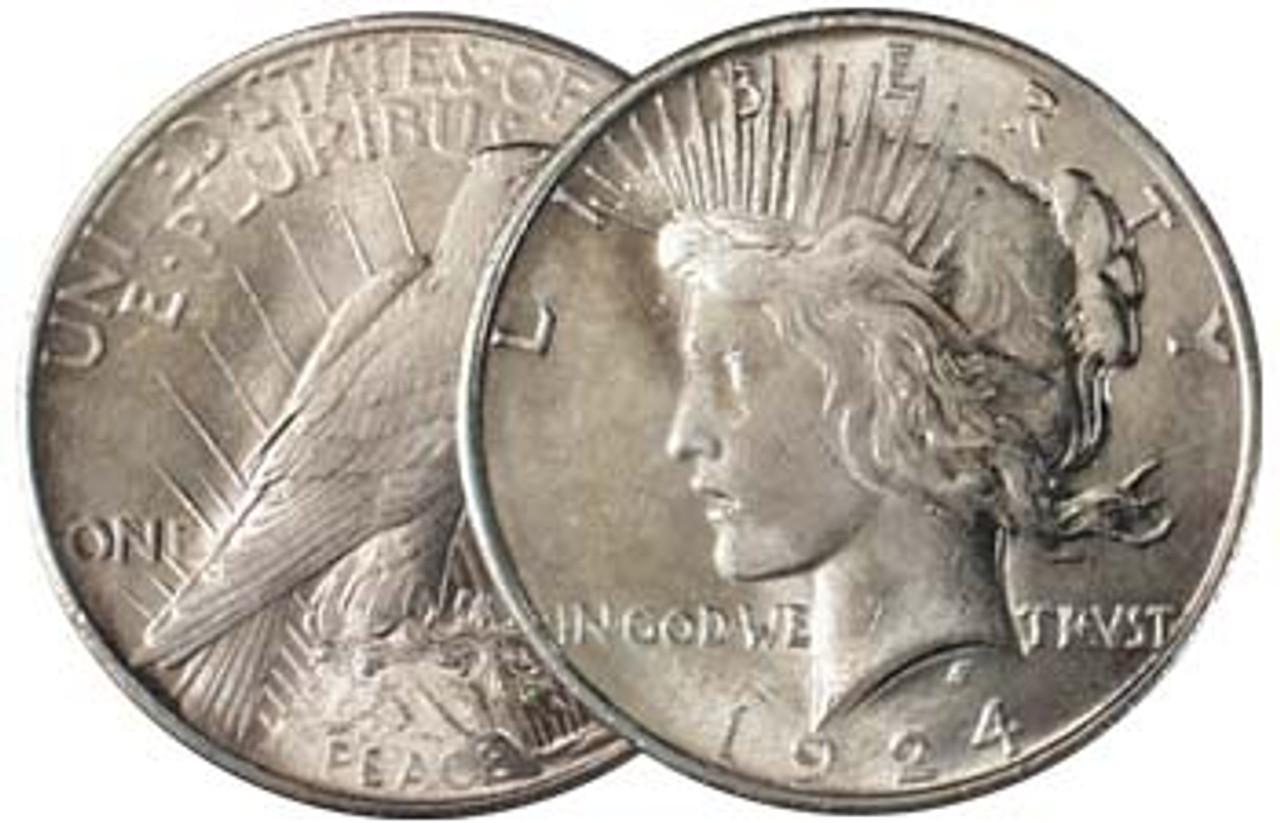 1924-P Peace Silver Dollar Very Fine Image 1