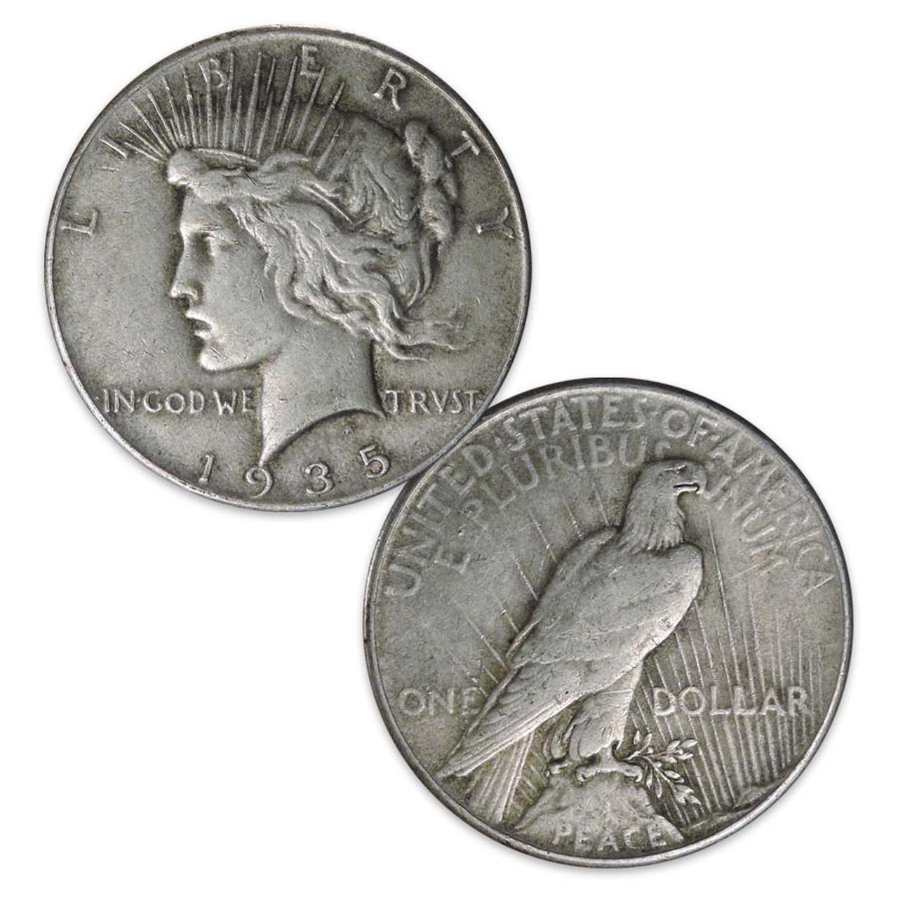 1935-P Peace Silver Dollar Very Fine Image 1