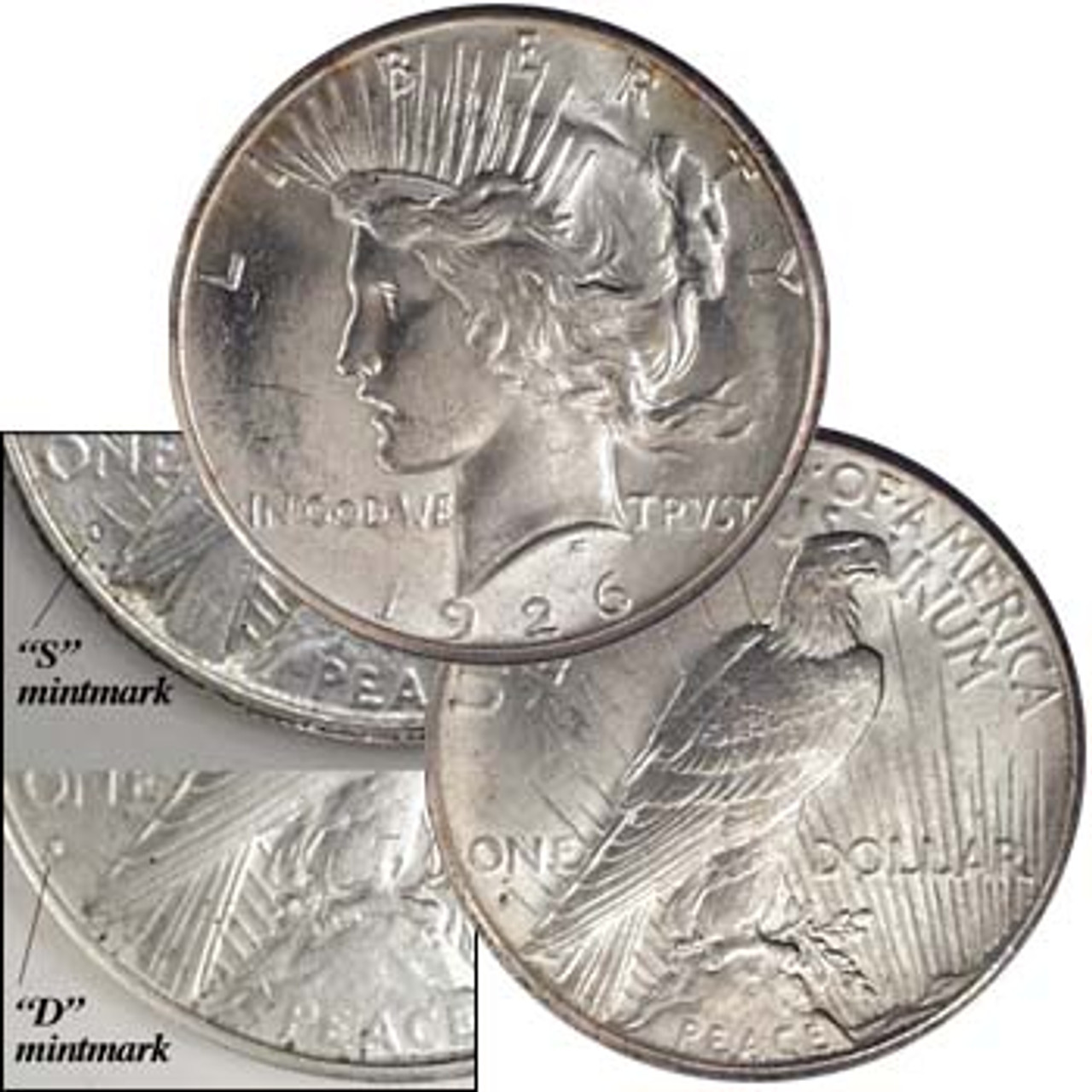 U.S. 1926 D & S Peace Silver Dollar Brilliant Uncirculated Pair