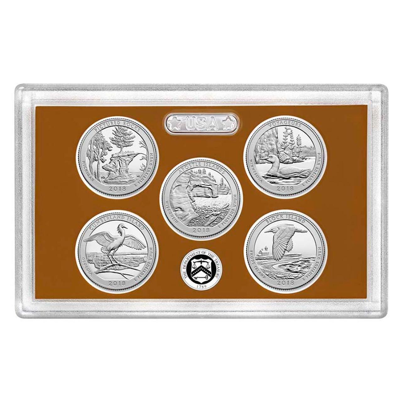 2018 National Parks Quarter Proof Set 5 Coins Image 1