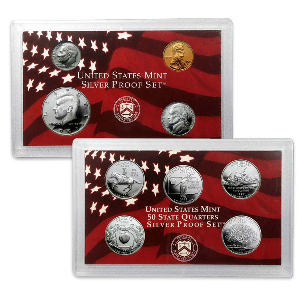 1999 Silver Proof Set 9 Coins Image 1