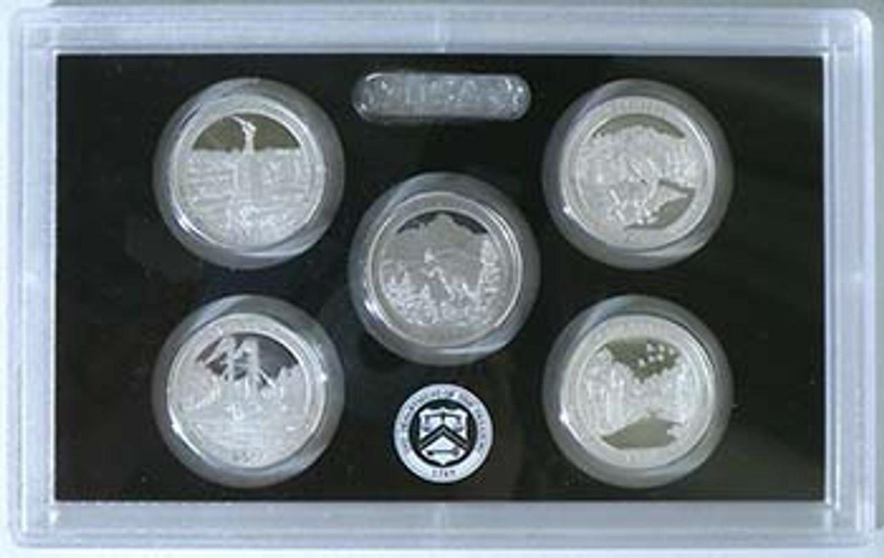 2011 National Parks Silver Quarter Proof Set 5 Coins Image 1