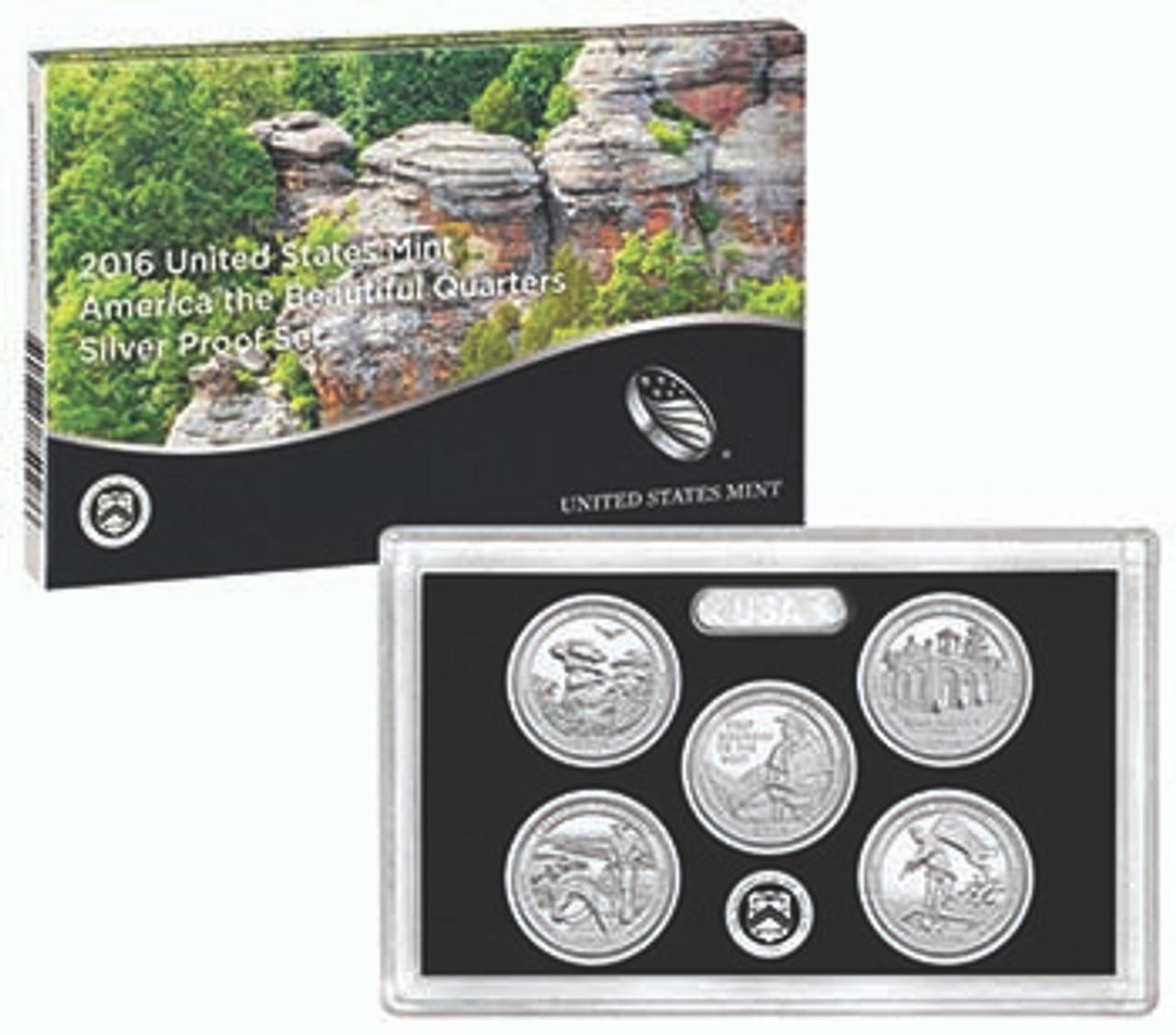 2016 National Parks Silver Quarter Proof Set 5 Coins Image 1