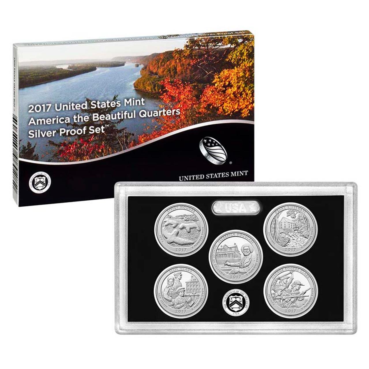 2017 National Parks Silver Quarter Proof Set 5 Coins Image 1