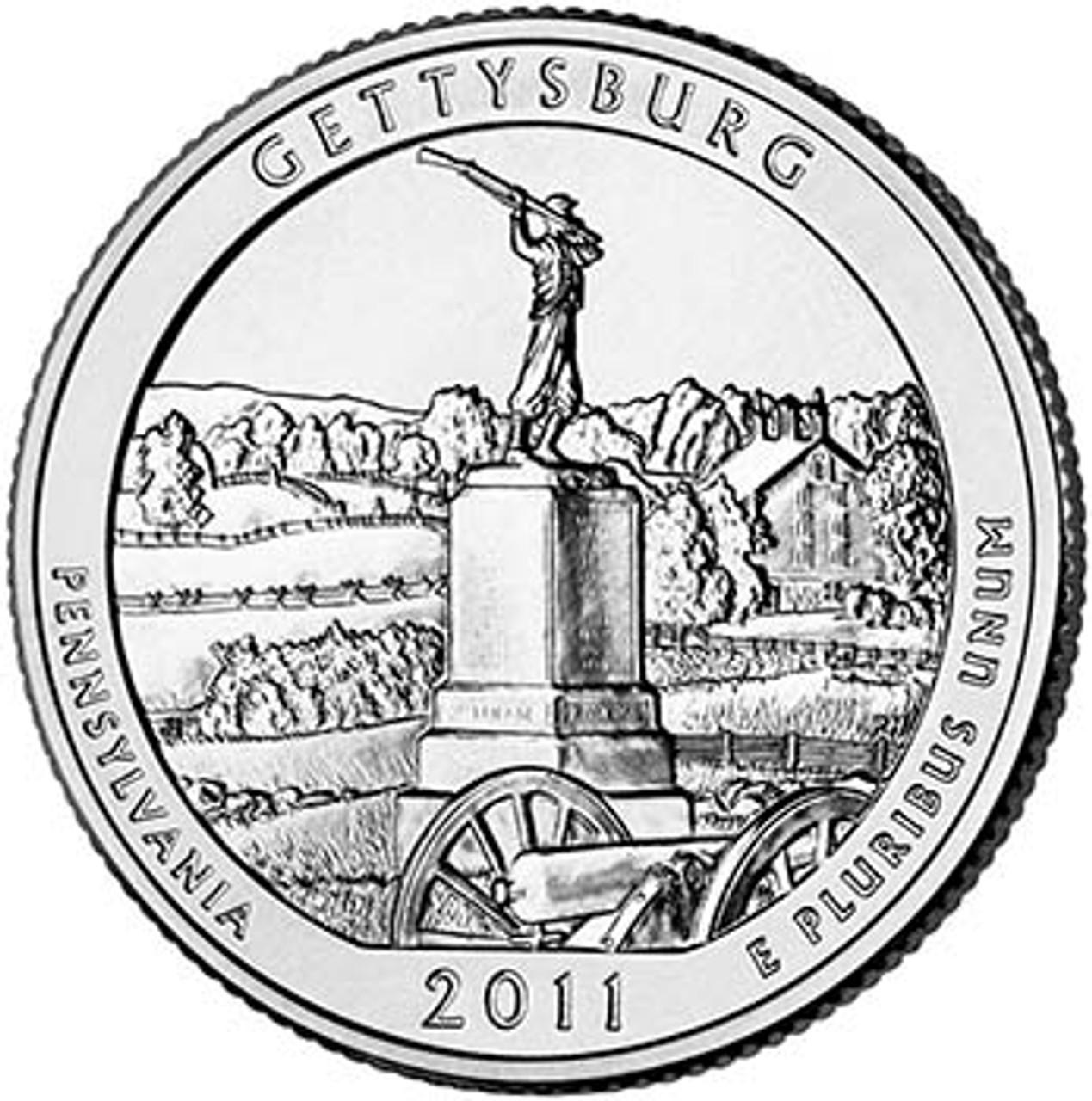 2011-P Gettysburg National Military Park Quarter Brilliant Uncirculated Image 1