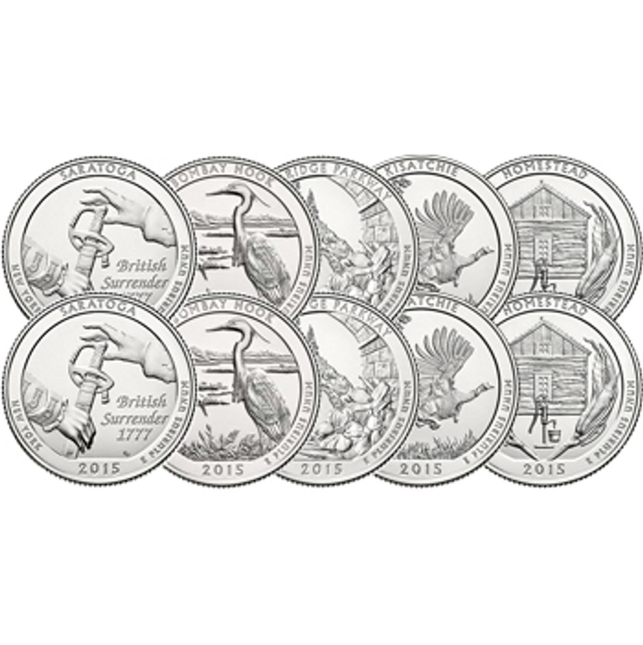 2015 P & D National Parks Quarter 10 Coins Brilliant Uncirculated Image 1
