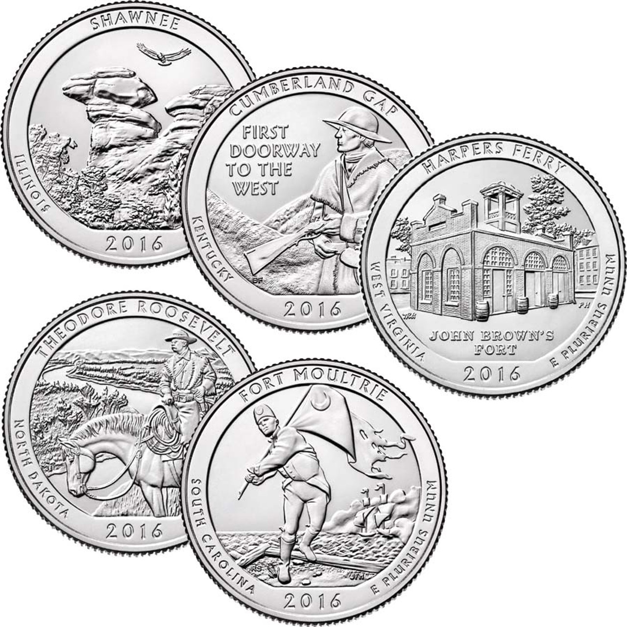 2016 National Parks Quarter 5 Coin Set, Brilliant Uncirculated