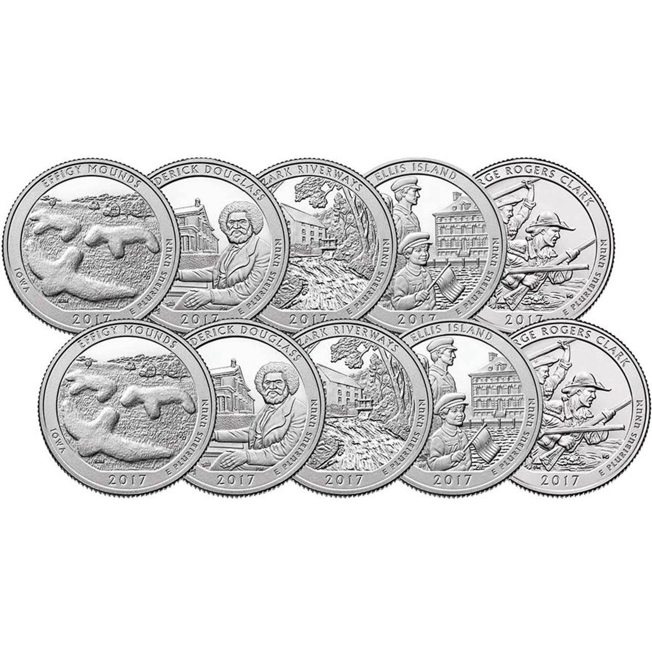 2017 P & D National Parks Quarter 10 Coin Set Brilliant Uncirculated Image 1