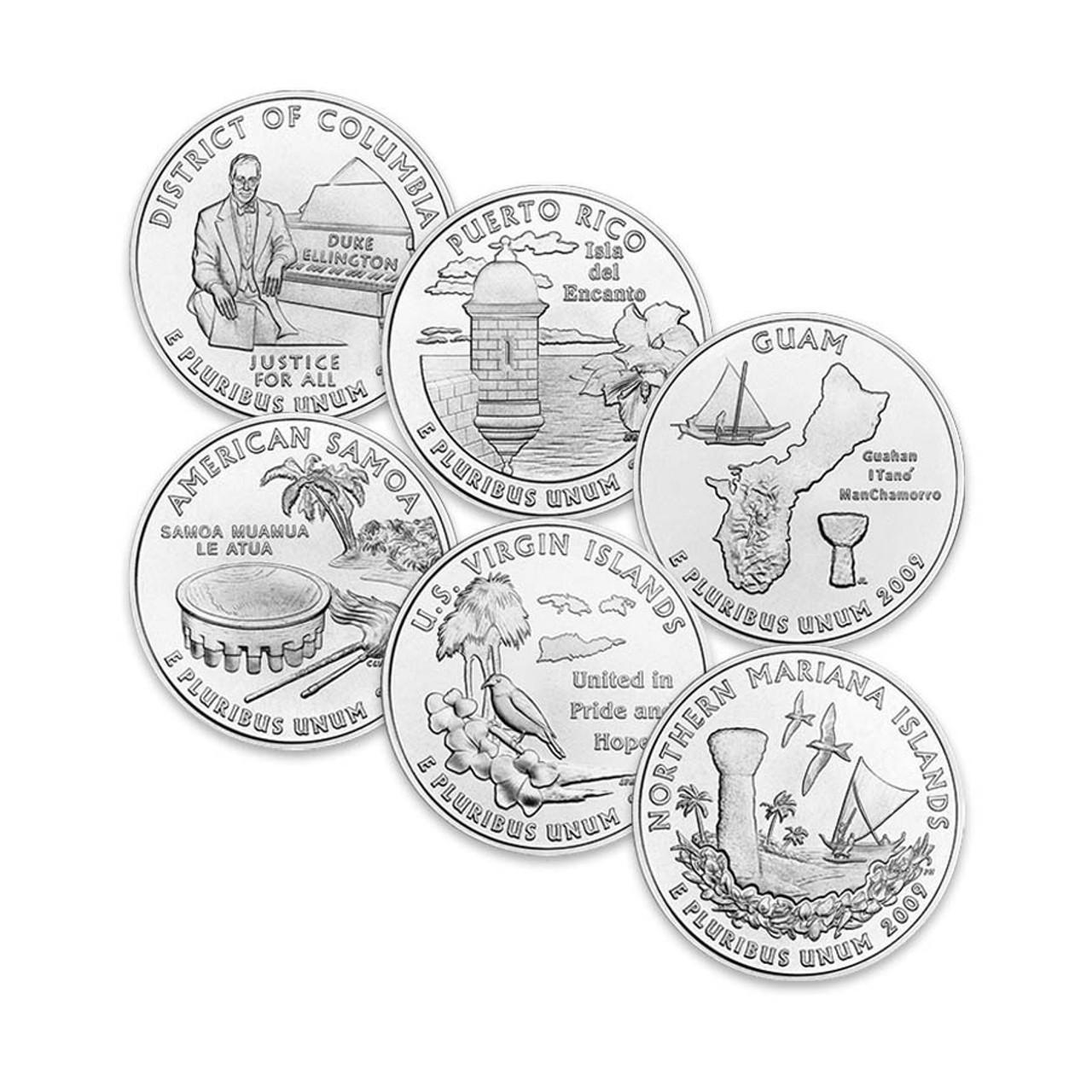 2009 DC & Territories Quarters P & D 12 Coins Brilliant Uncirculated