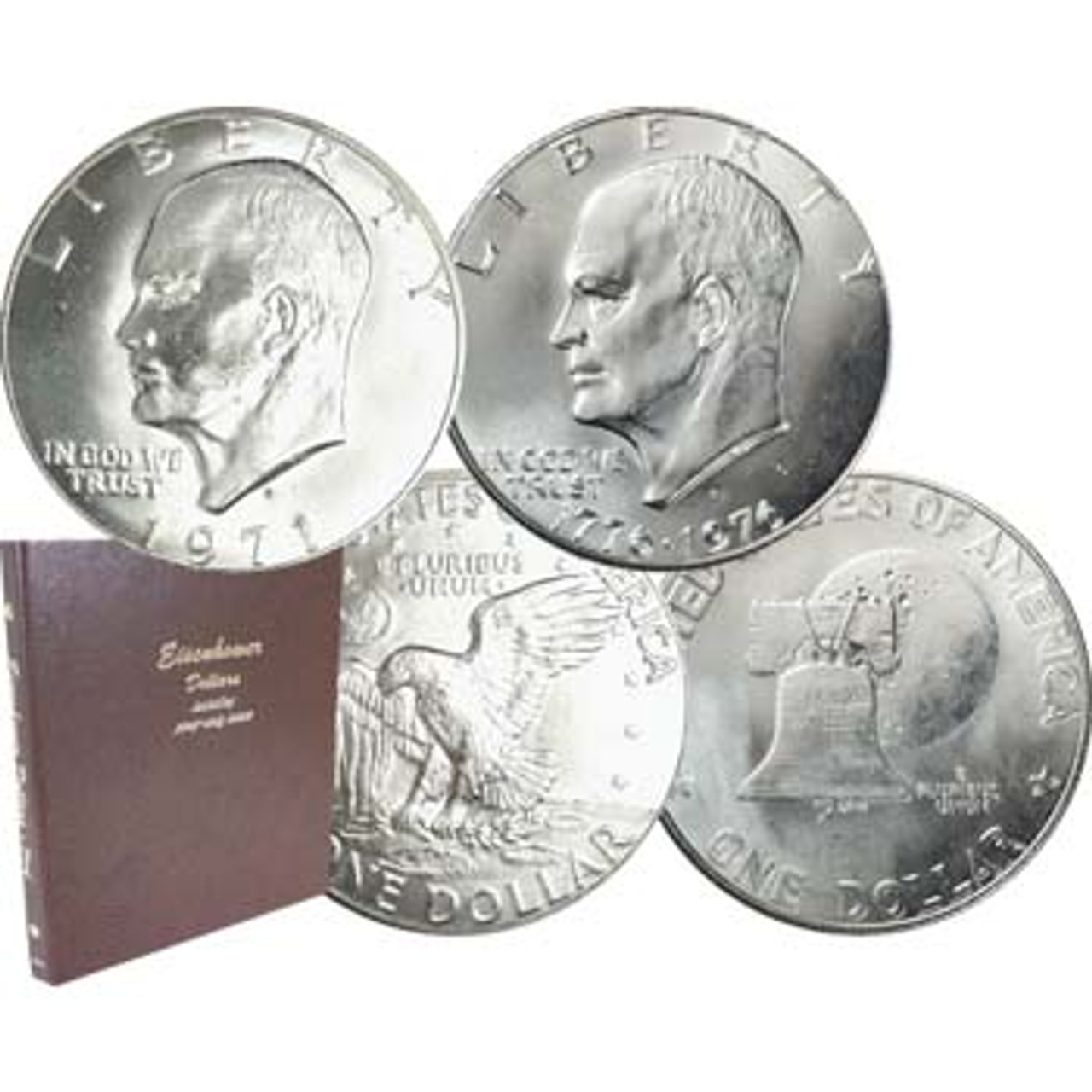 1971 to 1978 Eisenhower Dollar 32 Coin Set Brilliant Uncirculated to Proof Image 1