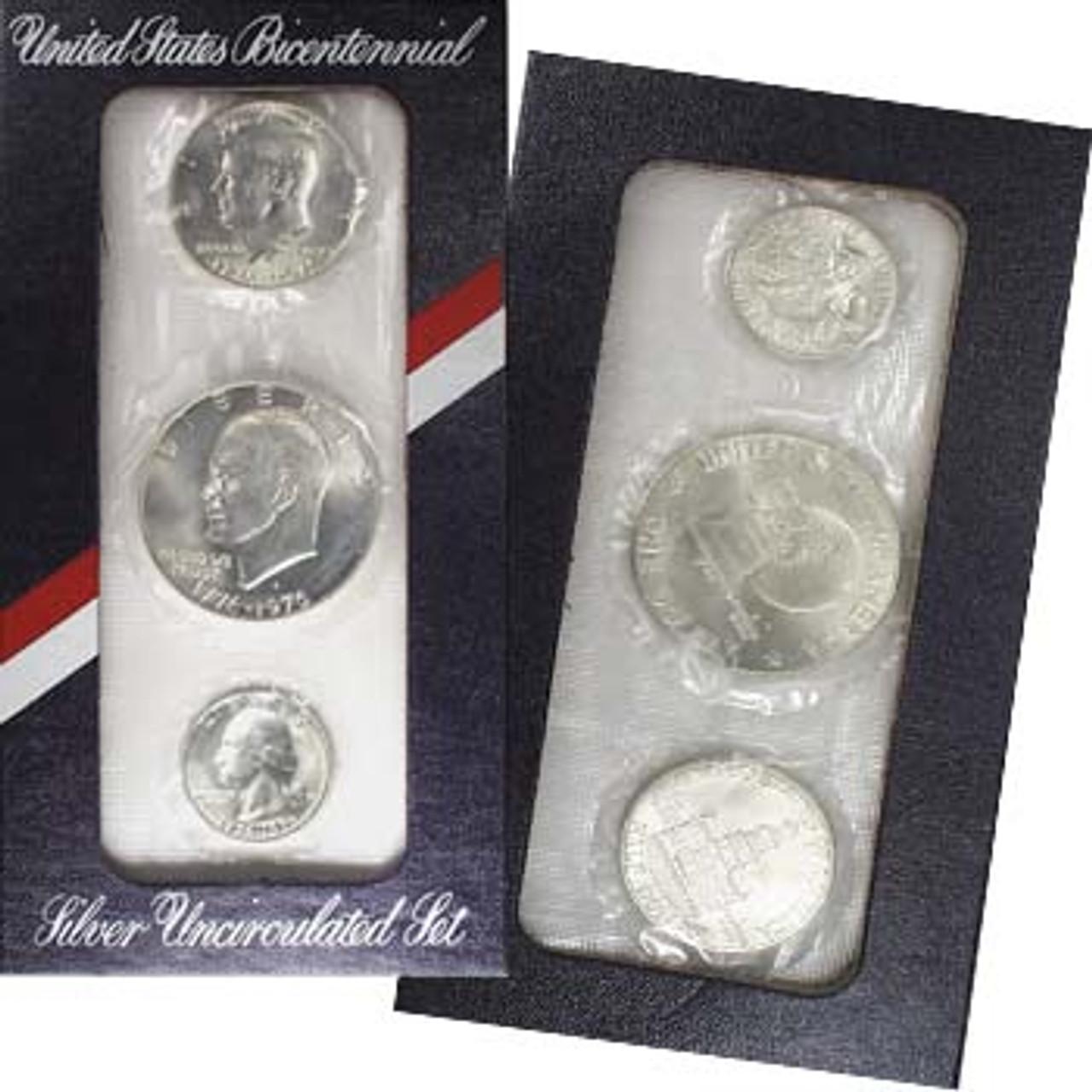 1976 Mint Set 40% Silver 3 Coins Image 1