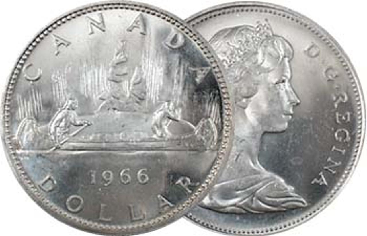 Canada 1960-1966 Canoe Silver Dollar Brilliant Uncirculated Image 1