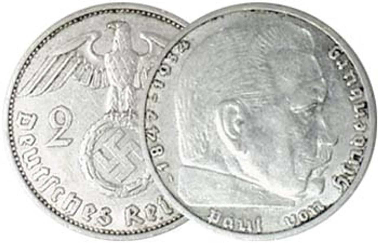 Nazi Germany 1936-1939 Hindenburg Silver 2 Mark Very Fine Image 1