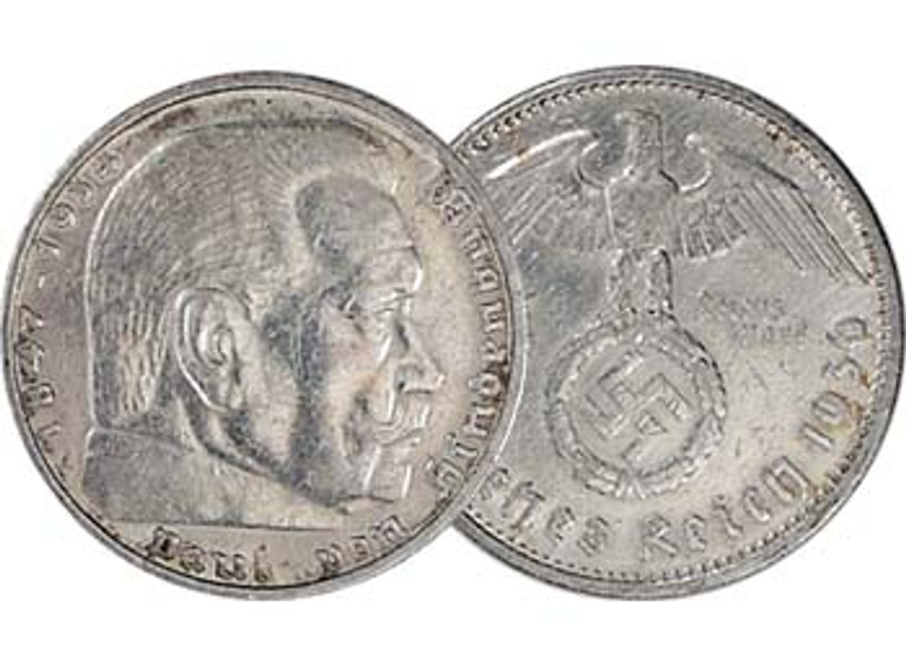 Nazi Germany 1936-1939 Hindenburg Silver 5 Mark Fine to Very Fine Image 1