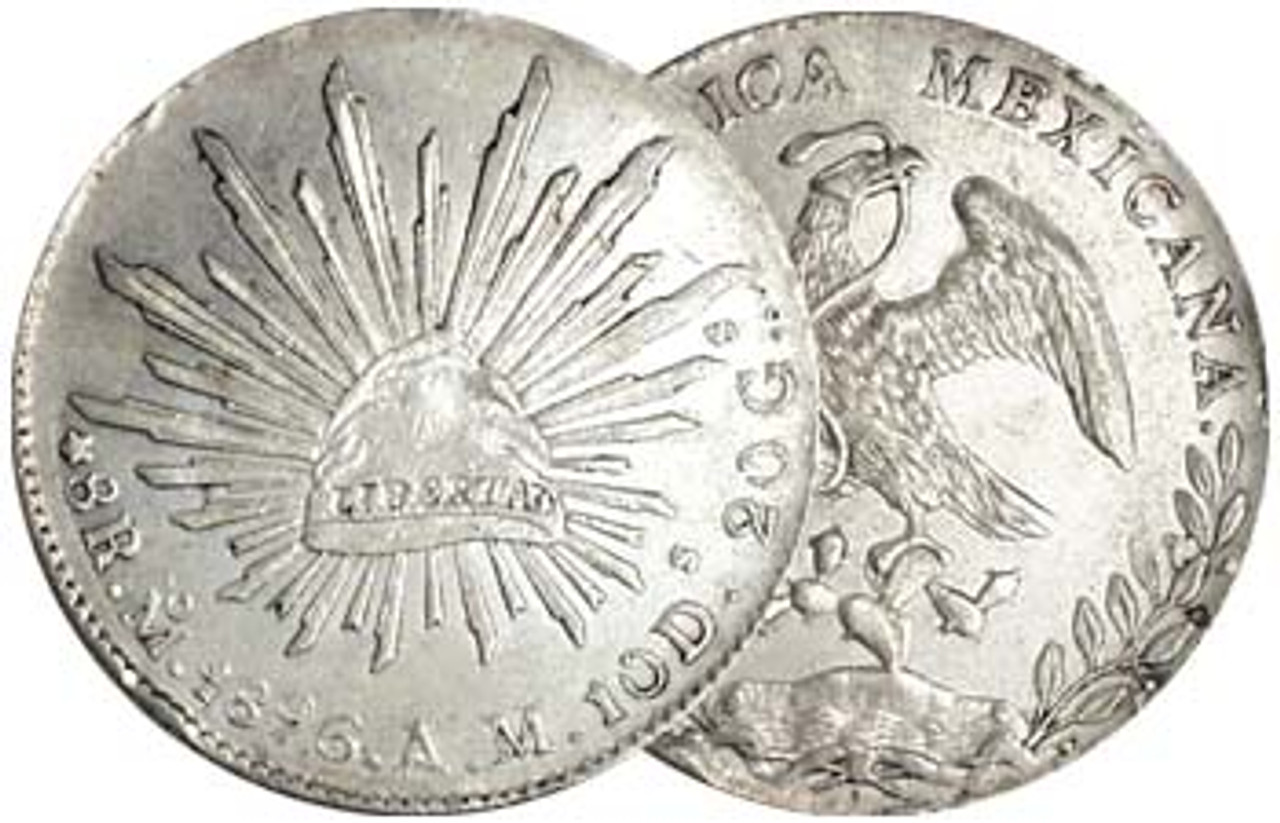 Mexico 1824-1897 Cap and Ray Silver 8 Reale Very Fine Image 1