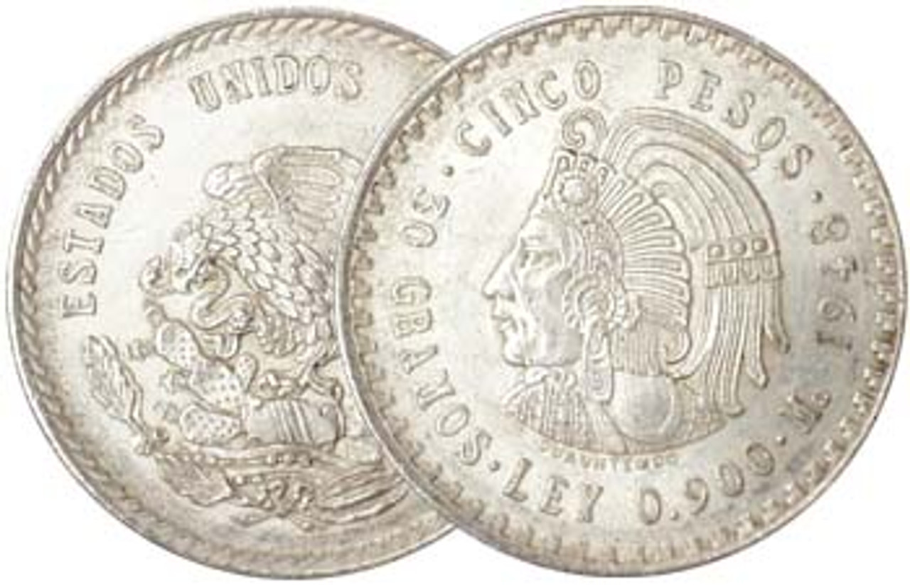 Mexico 1947-1948 Aztec Silver 5 Pesos Brilliant Uncirculated Image 1