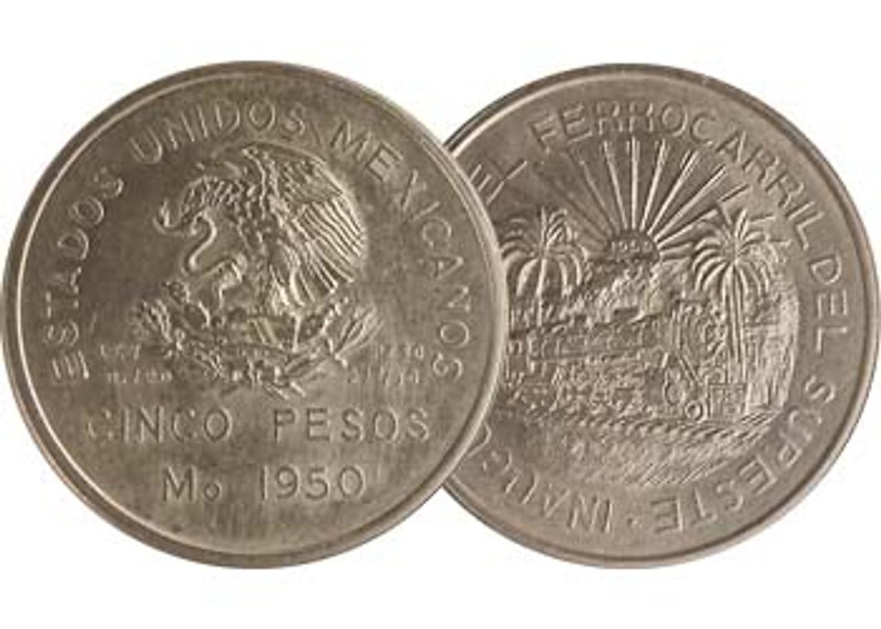 Mexico 1950 Southern Railroad Silver 5 Peso BU