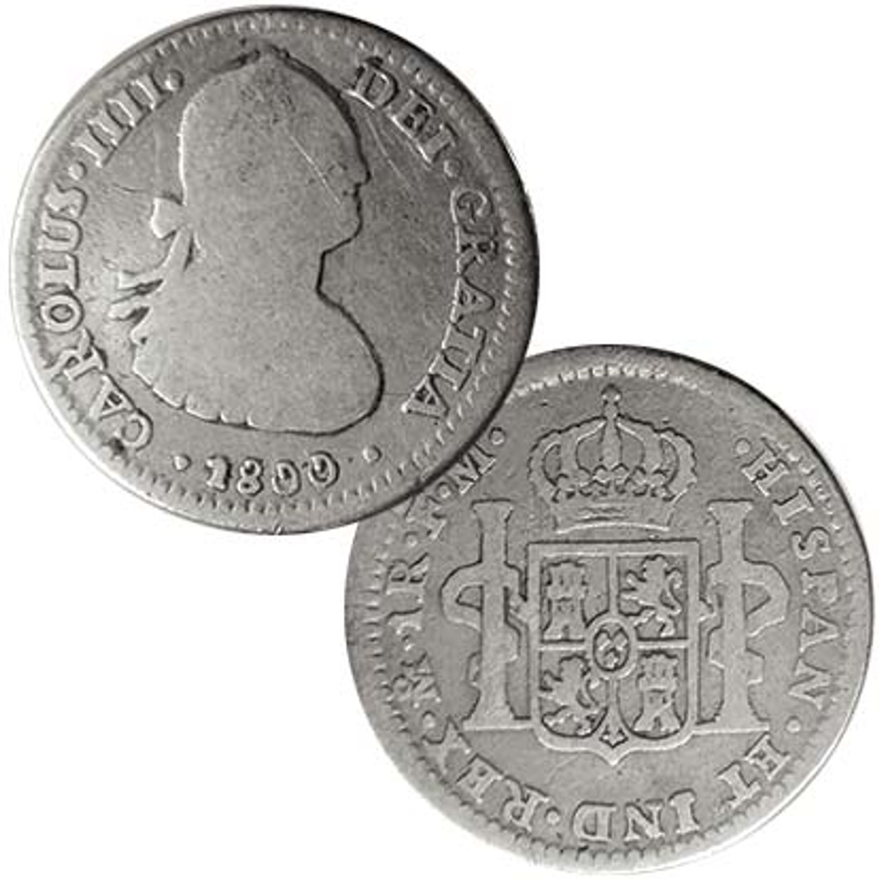 Spanish 1772-1825 One Bit Silver Reale Image 1