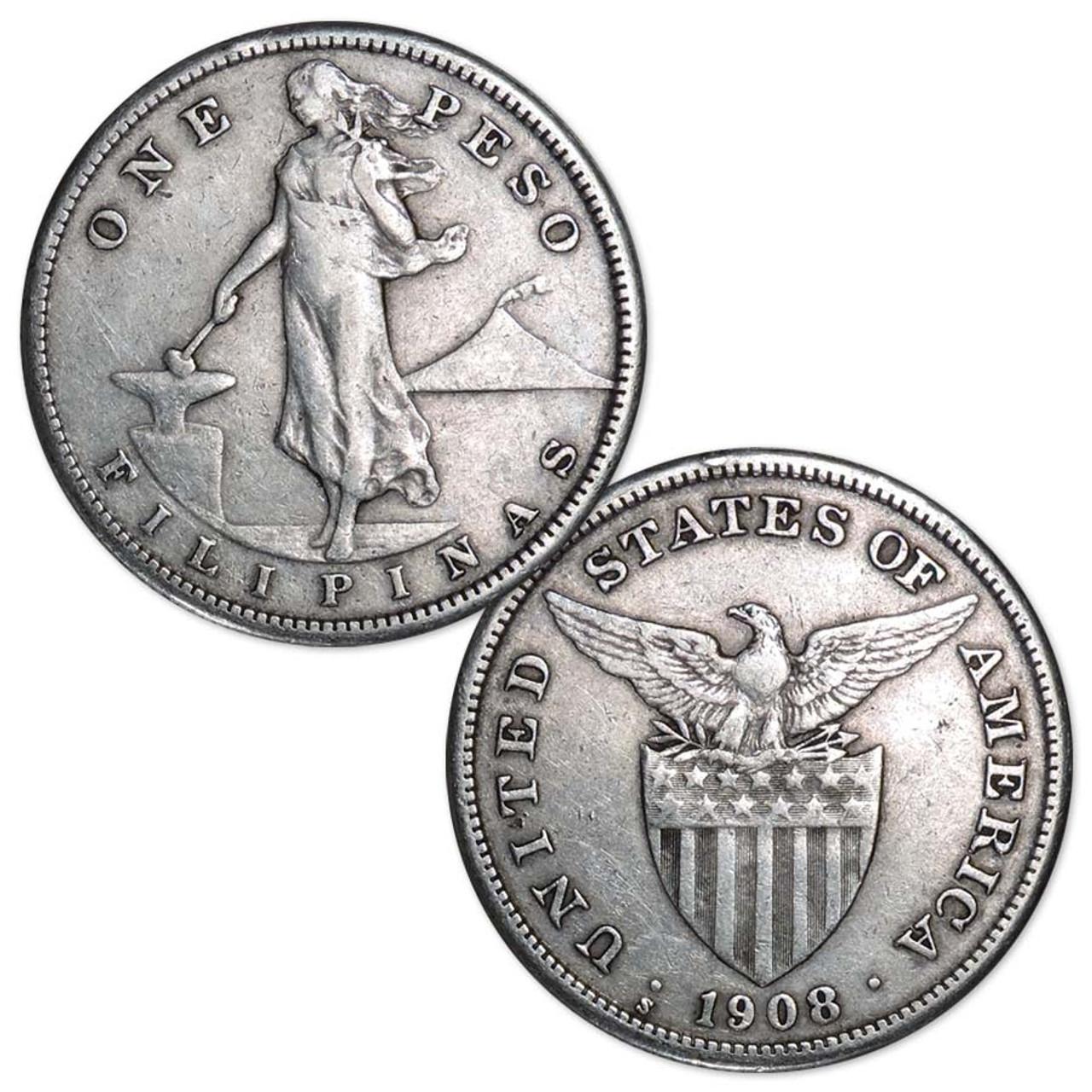 American Philippines 1907-1912 Liberty Silver Peso Very Fine Image 1