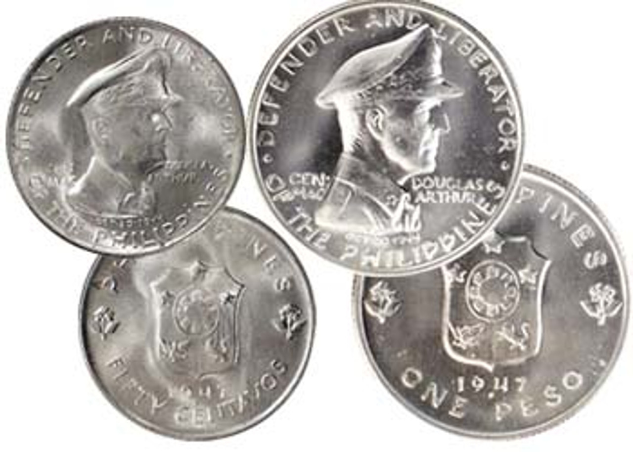 Philippines 1947 General MacArthur Silver 50 Centavos and Peso Brilliant Uncirculated Pair