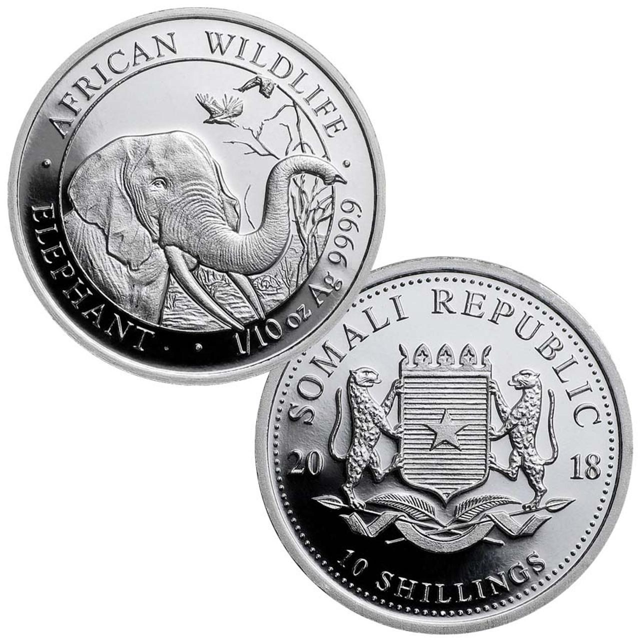 Somalia 2018 Elephant 1/10-Oz. Silver Brilliant Uncirculated