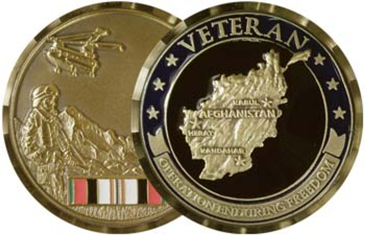 Afghanistan Veteran Brass Alloy Medallion with Antique Bronze Finish
