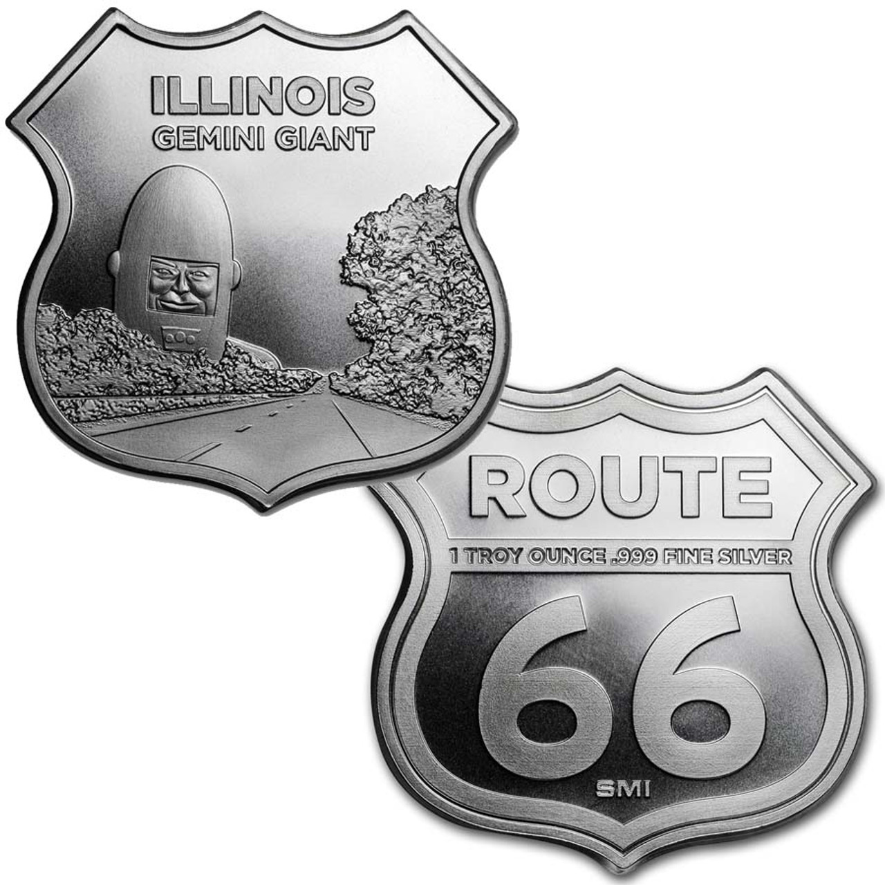 Route 66 Illinois Gemini Giant 1-Oz. Silver Shield Image 1