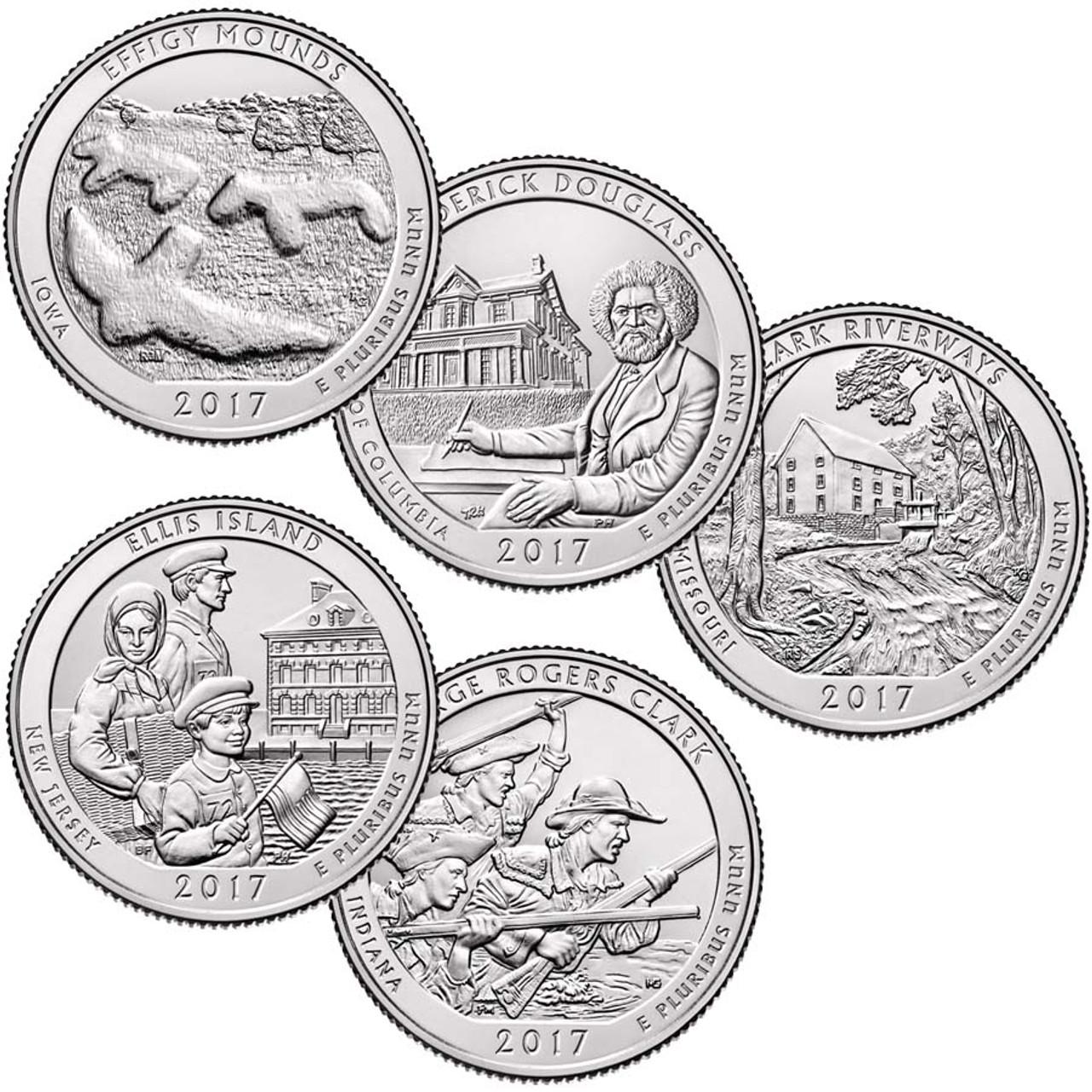 2017 National Parks Quarter 5-Coin Set, Brilliant Uncirculated