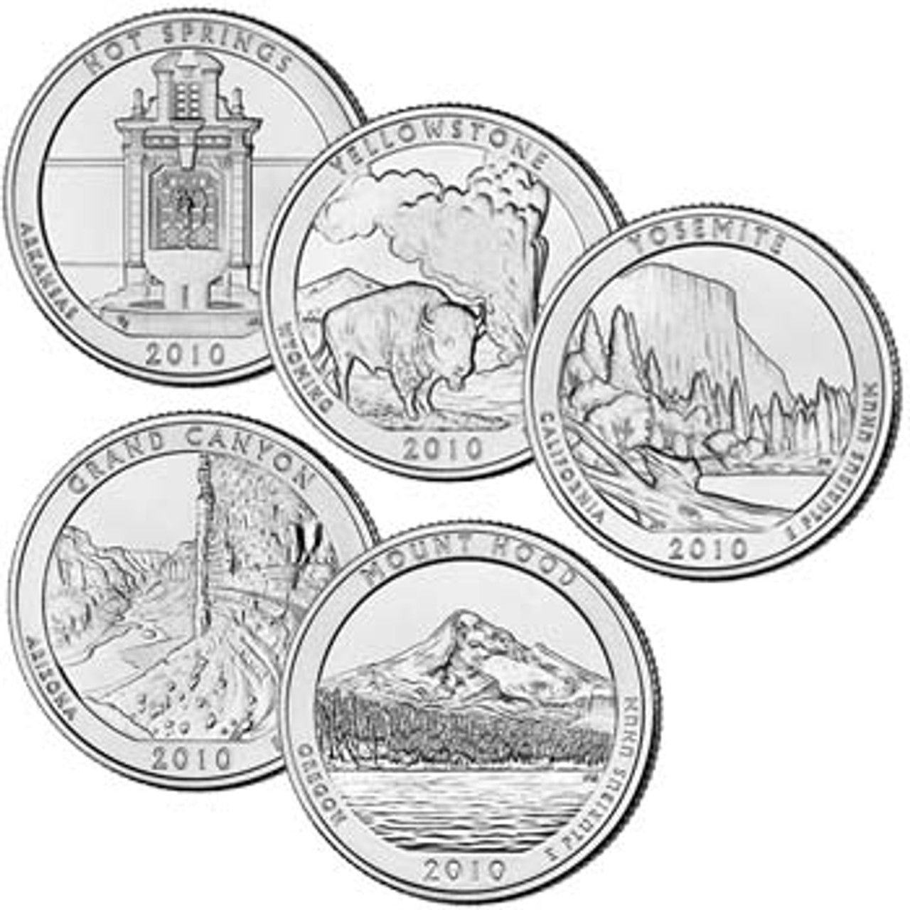 2010 National Park Quarters 5-Coin Set, Brilliant Uncirculated