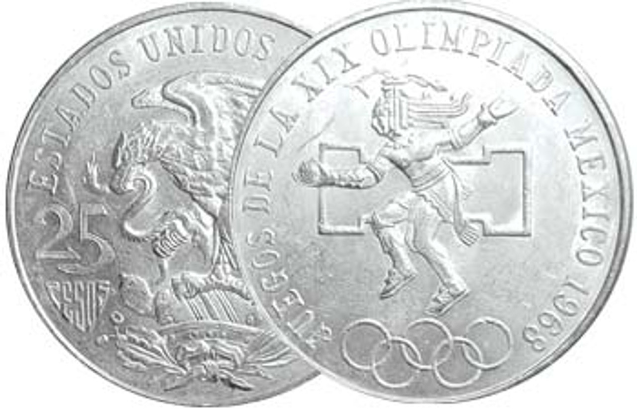 Mexico 1968 Summer Olympics Silver 25 Peso About Uncirculated Image 1