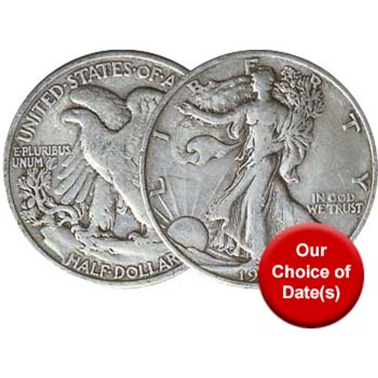 U.S. 1916-1947 Walking Liberty Silver Half Dollar, Very Fine