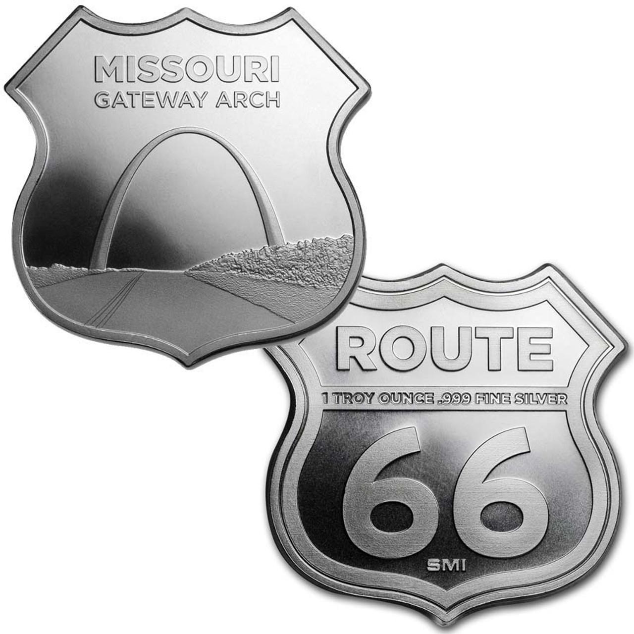 Route 66 Missouri Gateway Arch 1-Oz. Silver Shield Image 1
