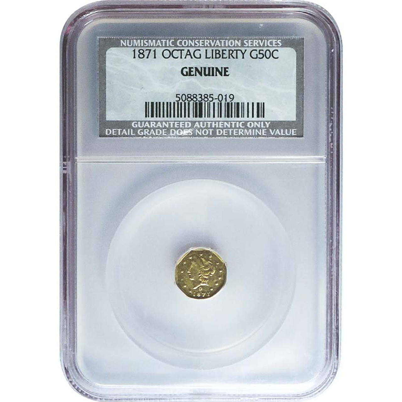 1852-1875 Fractional Octagonal Half Dollar Gold, NCS Certified Genuine