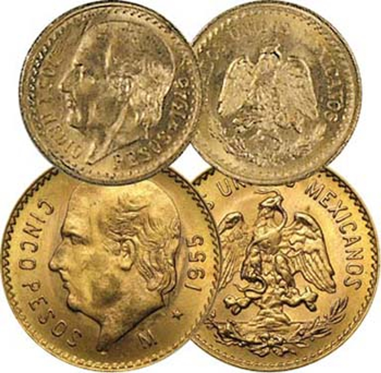 Mexico Hidalgo Gold 2 1/2 and 5 Peso About Uncirculated Pair