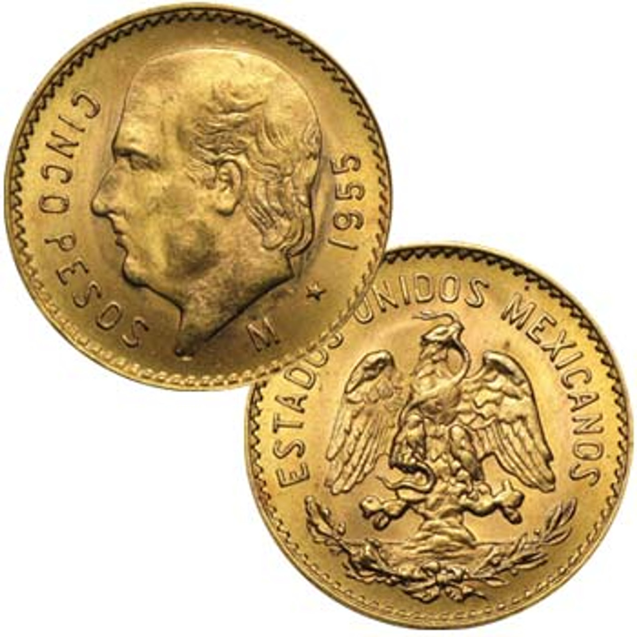 Mexico 1905-1959 Hidalgo Gold 5 Peso About Uncirculated Image 1
