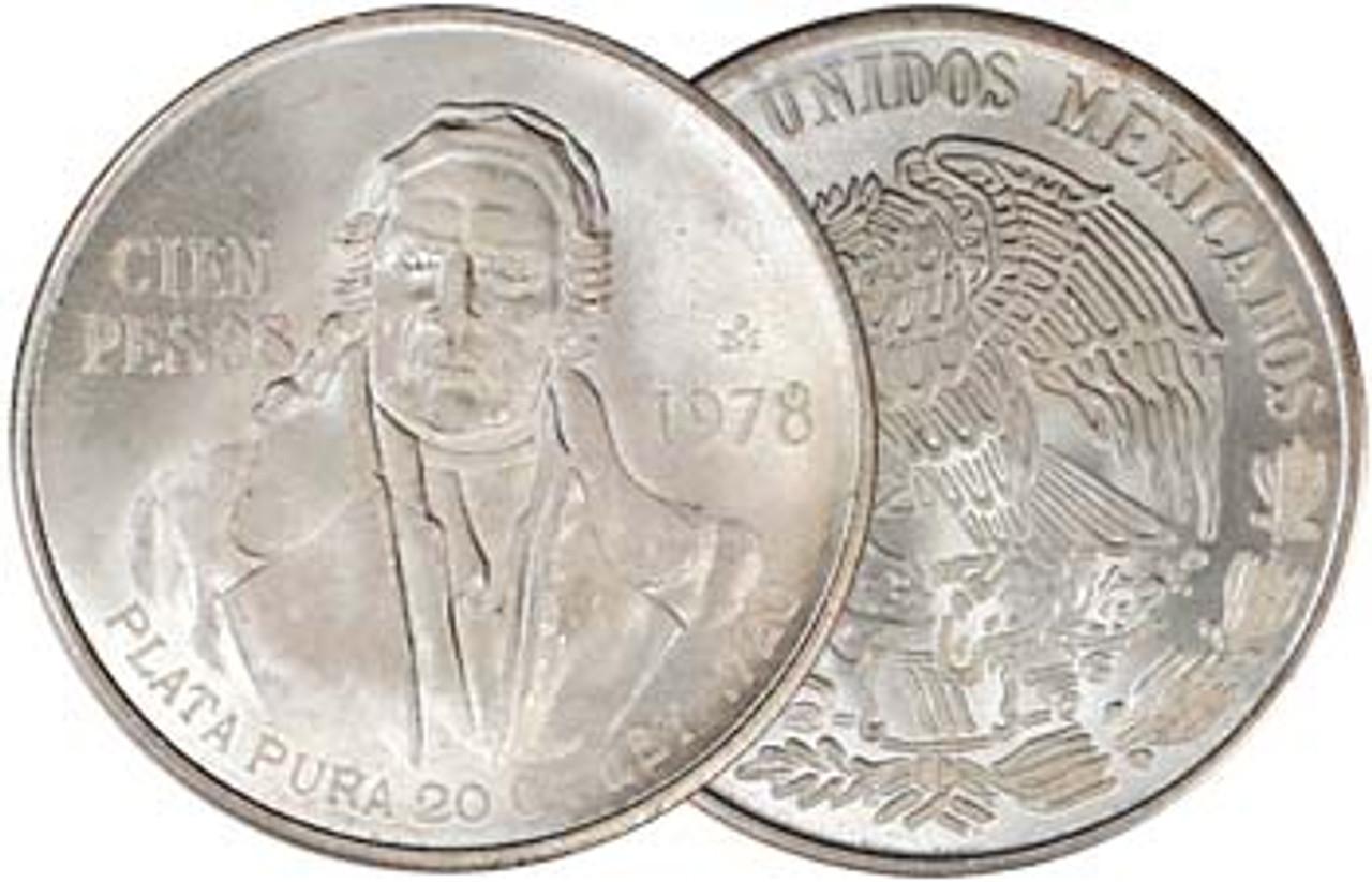 Mexico 1977-1979 Morelos Silver 100 Pesos Brilliant Uncirculated Image 1