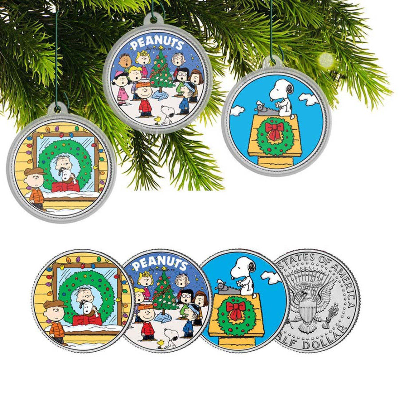 Kennedy Half Dollar Peanuts Colorized Ornaments 3-Coin Set