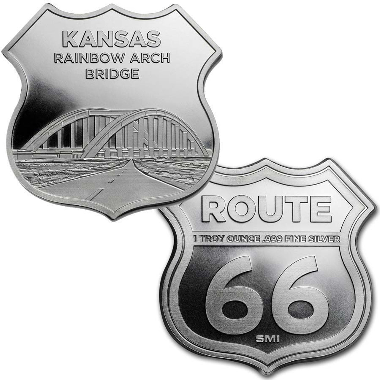 Route 66 Kansas Rainbow Arch Bridge 1-Oz. Silver Shield Image 1