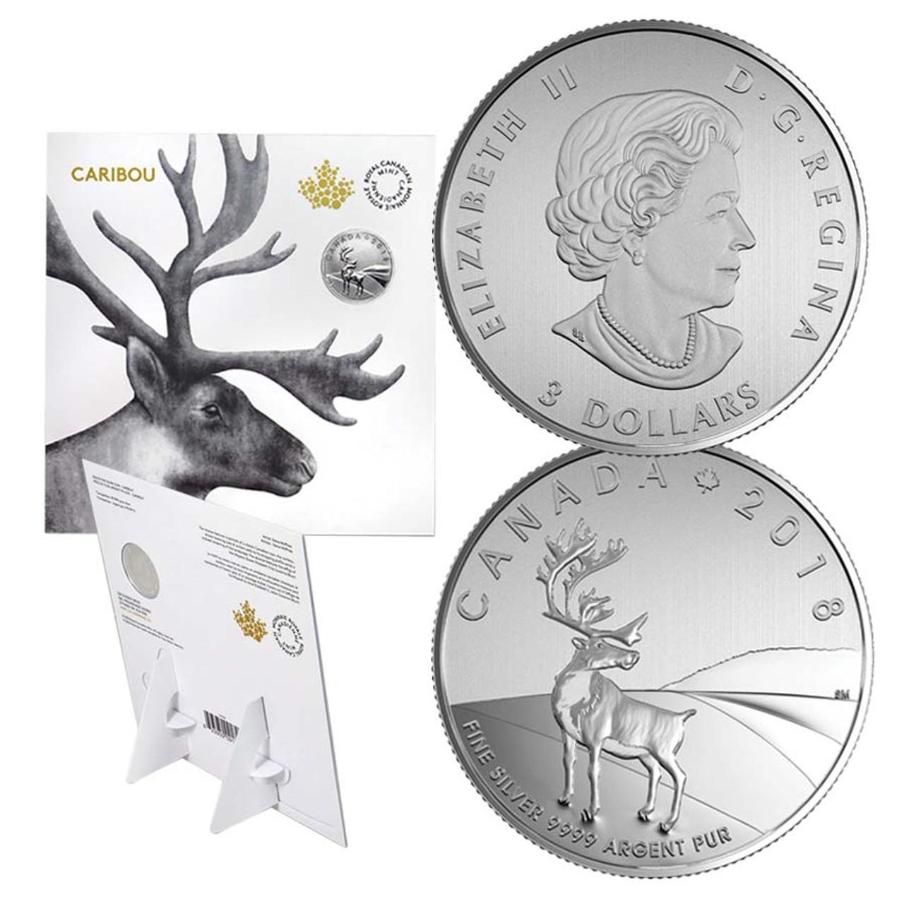 Canada 2018 Caribou 1/4 Oz. $3 Silver