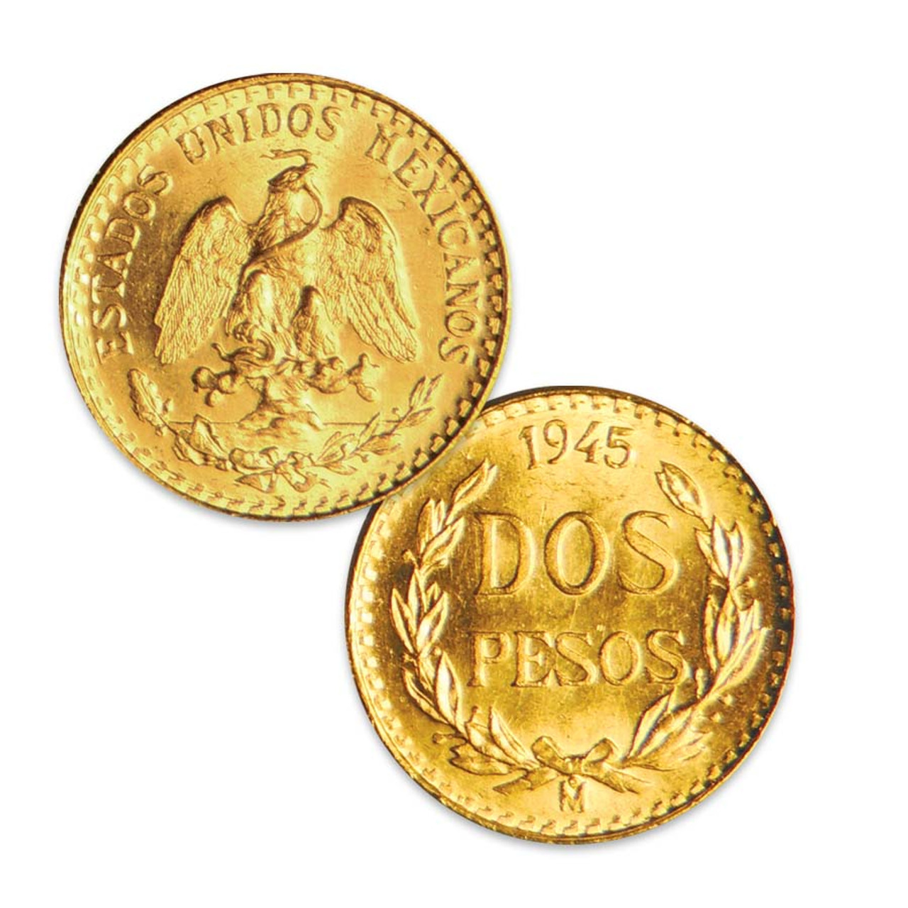 Mexico 1945 Gold 2 Pesos About Uncirculated to Brilliant Uncirculated